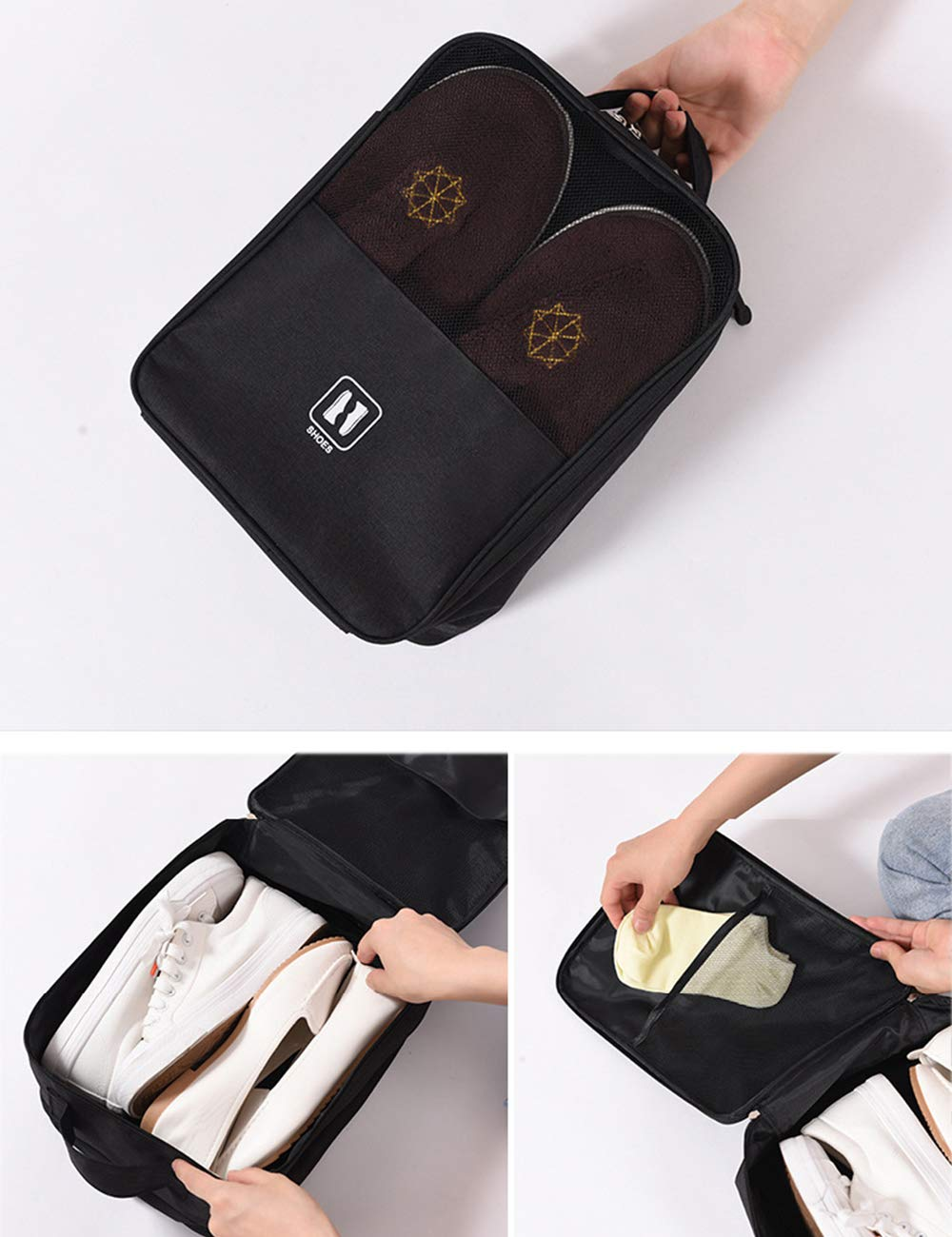 Zhhlinyuan Outdoor Travel Shoes Storage Bag Waterproof Handbag with Zipper /& Net