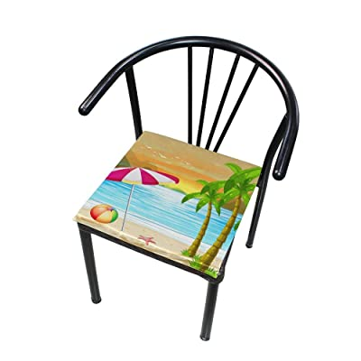 """Bardic HNTGHX Outdoor/Indoor Chair Cushion Beach Palm Tree Umbrella Square Memory Foam Seat Pads Cushion for Patio Dining, 16"""" x 16"""": Home & Kitchen"""