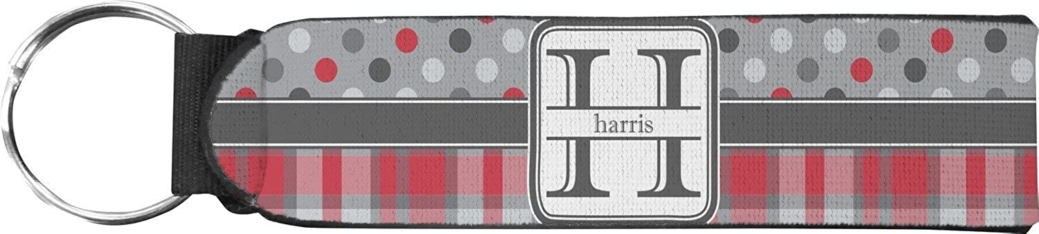 Red & Gray Dots and Plaid Keychain Fob (Personalized)