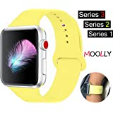 For Apple Watch Band, MOOLLY Soft Silicone iWatch Strap Replacement Sport Band for Apple Watch Band Series 3 Series 2 Series 1 Sport & Edition 42mm (Pollen Yellow, 42mm S/M)