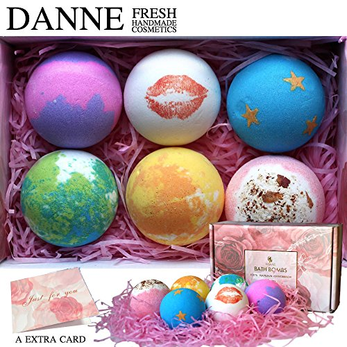 Danne Large 6 X 4.5oz Lush Bath Bombs Gift Sets, Handmade And Natural Organic Essential Oils, Dry Flowers Bath Bomb For Moisturizing Skin and Relaxation.Best Birthday/Christmas Gift for women, girls Skin Gift Card