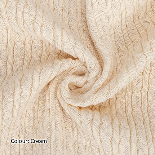 - Neotrims Cable Twist Knit Fabric, Selvedge Edge 13 Colours, Knitted Sweater Style Cotton Feel Material. Superb cloth for Apparel, Accessories and to make Baby Wraps Blankets. 50-55cms wide with double the stretch width! Unique to Neotrims.