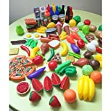 Amyove 120 Pcs Plastic Food Fruits Vegetables Toy Set Kitchen Pretend Play Toy for Boys and Girls