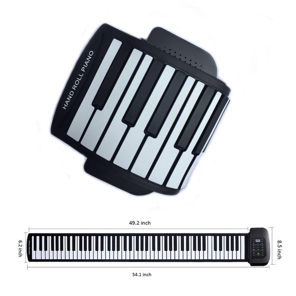 Roll up piano portátil 88 tecla suave elástico música electrónica teclado piano incorporado batería recargable para principiantes de regalo: Amazon.es: ...