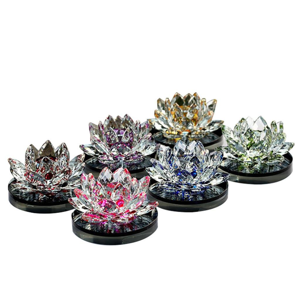 Crystal Glass Perfume Bottles Empty Lotus Flower Figurines for Women,Home,Office,Bedroom,Car (Red)