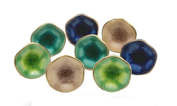 Set of 8 Cabinet Knobs Ceramic Jordan Mix Handmade Drawer Pull Diameter 1.6