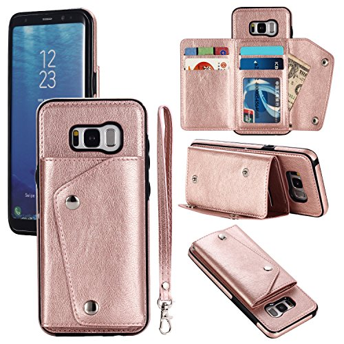 Gostyle Galaxy S8 Plus Wallet Case,Samsung Galaxy S8 Plus Case with Credit Card Slots,Fashion Multifunction Premium PU Leather Cover with Kickstand Cash Pocket Hand Strap Shockproof Cover,Rose Gold