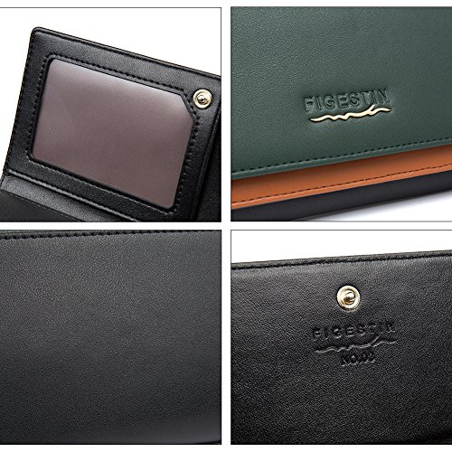 [Clearance] FIGESTIN Women Rfid Blocking Cowhide Leather Wallet With Zipper Large Capacity Credit Card Holder Evening Clutch Purse by FIGESTIN (Image #6)