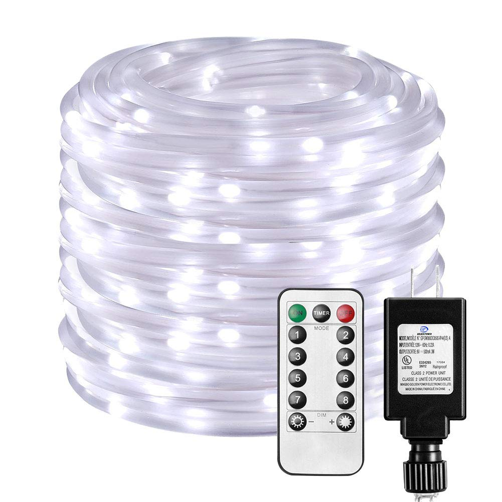 E-thinker LED Rope Lights Indoor Outdoor,65.6Ft(20M) Clear Tube 200leds with Remote,Intelligent Timing RGB Light Rope for Garden, Patio,Pool,Bedroom,Landscape Lighting and More