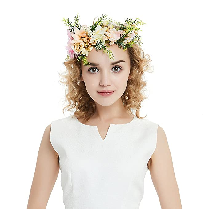 Guirnalda De Flores Elegantes Diadema Garland Corona De Flores Embarazadas Con Cinta Ajustable Para La Boda, Beige-M: Amazon.es: Ropa y accesorios