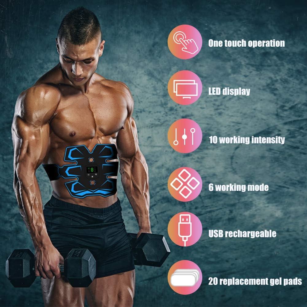 para Abdomen//Cintura//Pierna//Brazo USB Recargable EMS Estimulador Abdominales Muscular Masajeador Cintur/ónMuscular Abdominales TouchSKY Electroestimulador Estimulador Muscular Abdominales