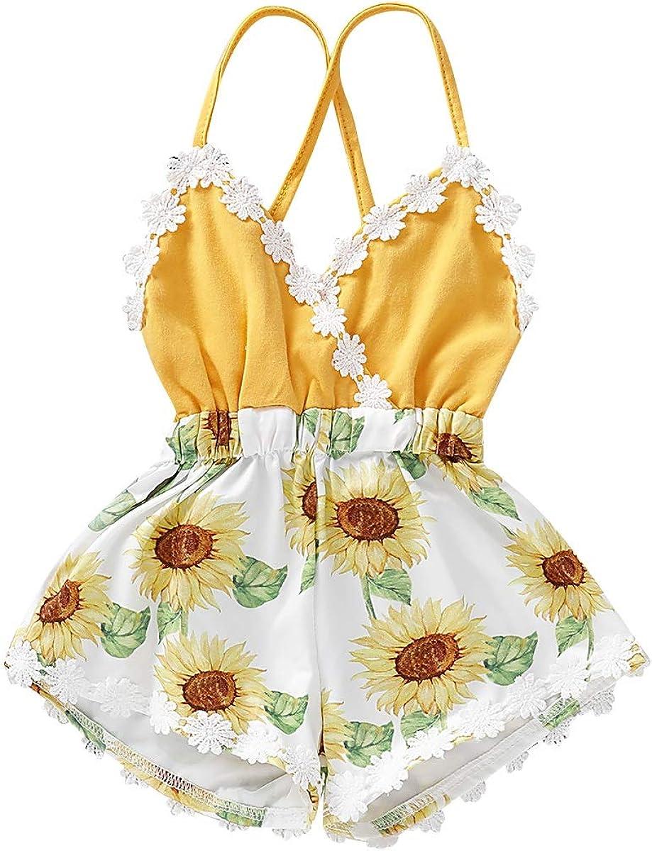Haokaini Infant Toddler Pure Sling Ruffles Romper Summer Casual Jumpsuit Bodysuit for Baby Girl