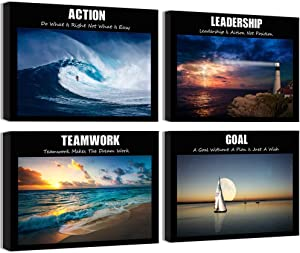 Visual Art Decor Large Motivation Teamwork Leadership Action Goal Inspirational Quotes Canvas Wall Art Ocean Waves Sea Seascape Picture Prints for Home Office Wall Decoration Set of 4 Ready to Hang