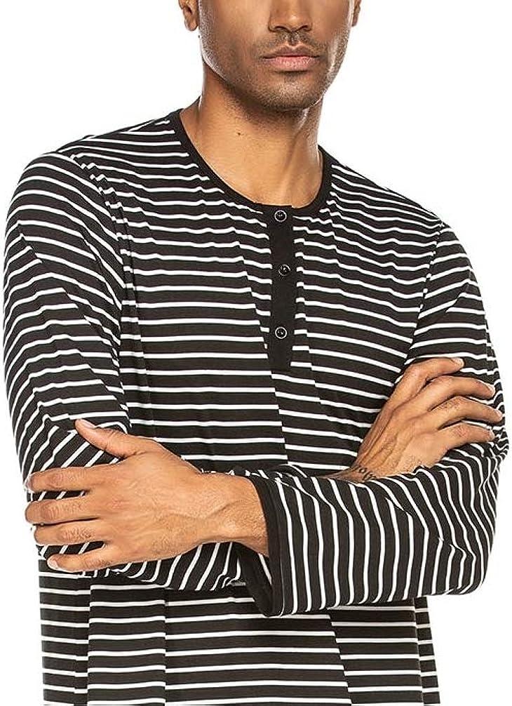 Mens Long Pyjamas One Piece Nightdress Striped Long Sleeve Large Crew Neck Button Down Sleepwear