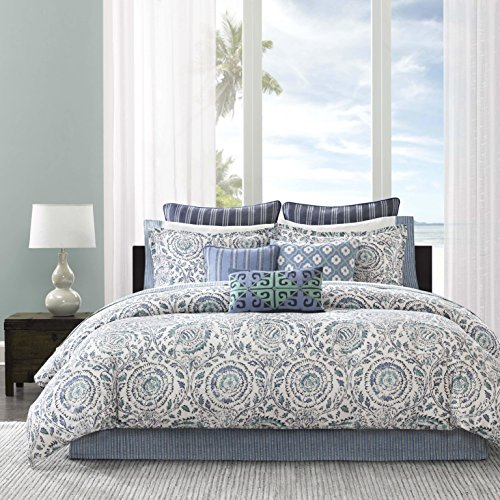 C&U 4 Piece Blue Ivory Medallion Pattern Comforter Queen Set, Beautiful All Over Rich Mandala Motif Floral Design, Reversible Bedding, Mid-Century Modern Transitional Style, Sateen Cotton 61Z235fKnqL