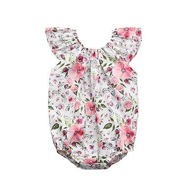 f4bac2151bab Amazon.com  Hatoys Infant Kids Baby Girls Sleeveless Floral Romper ...