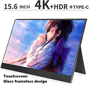 Ever Lustre 15.6 Inch Portable Monitor 4K Touch Screen 3840x2160 UHD Display for PS4, Xbox, Switch, Smart Phone, Laptop (Non-Battery Monitor + case)