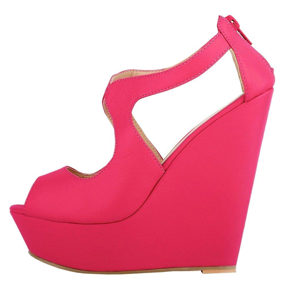 MERUMOTE Womens Wedges Heeled Sandals High Platforms Open Toe Zipper Shoes B01CWM7010 6 M US|Matte Rose