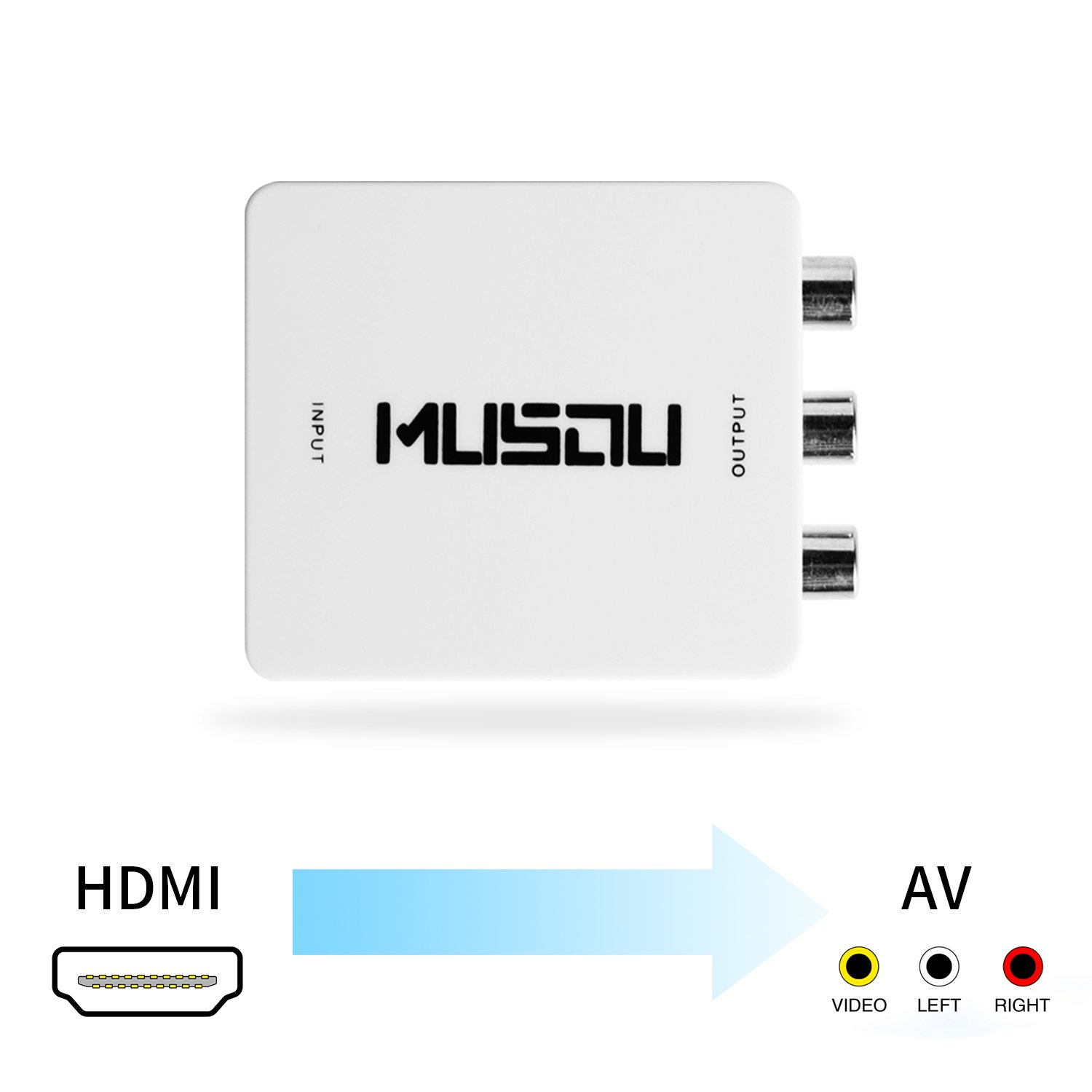 HDMI to RCA,Musou HDMI RCA Converter,HDMI to AV Composite Video Audio Converter Adapter Powered by USB Cable,White by Musou