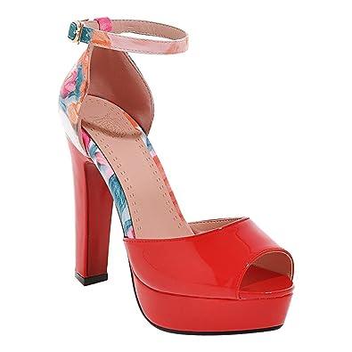 MissSaSa Damen Hoch Absatz Stoffdruck Leder-Sandalen