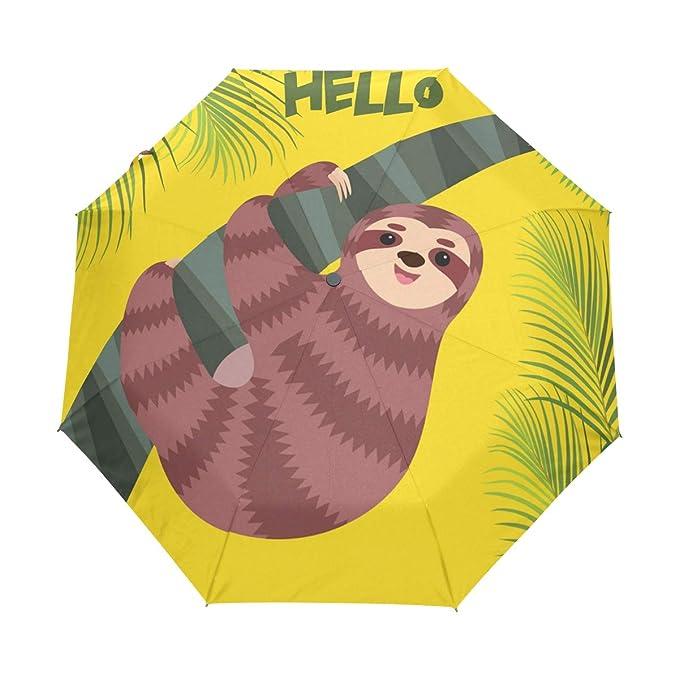 9c0f7a66c56e Amazon.com : senya Cute Sloth and Tropical Leaves Umbrella Windproof ...