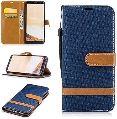 Galaxy S8 ケース, Zeebox® PUレザー ス手帳 財布型カバー, Samsung Galaxy S8 対応 女性向 スマートフォンケース, 耐摩擦 耐衝撃 360°保護 財布型 ケース, スタンド機能 マグネット開閉式, 紺