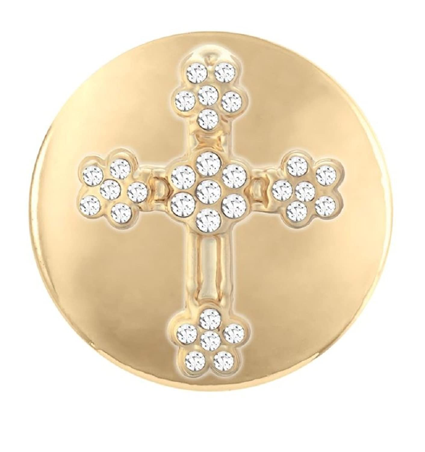 Ginger Snaps Simulated Gold Flower Stone Cross SN03-29 (Standard Size) Interchangeable Jewelry Accessories