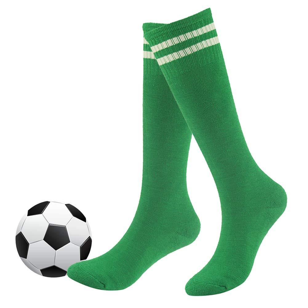 Long Tube Socks,Fasoar Boys and Girls Knee High Striped Long Tube Fashion Children Soccer Socks 2 Pairs Green by Fasoar