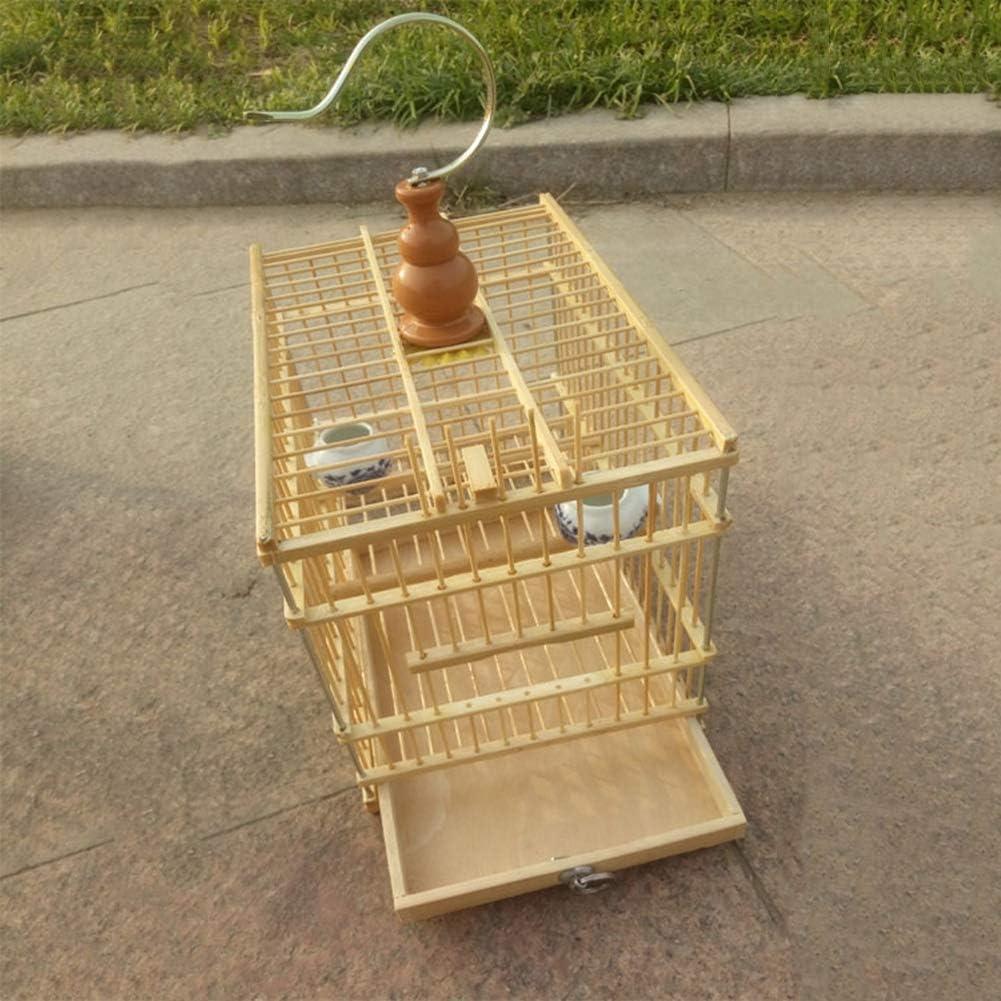 LIPETLI Excelente Sistema de Bambú Jaula de Pájaros Acacia Rectangular Jaula de Pájaros Pajarera Adecuado para Loros Pequeños y Medianos