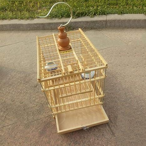 LIPETLI Excelente Sistema de Bambú Jaula de Pájaros Acacia ...