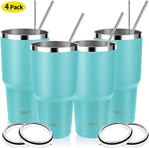 Stainless Steel Tumbler 30oz - Vacuum Insulated Tumbler Coffee Cup Double Wall Large Travel Mug with Lid, Straw, Brush, Gift Box Set (Seafoam, 30oz-4 Pack)