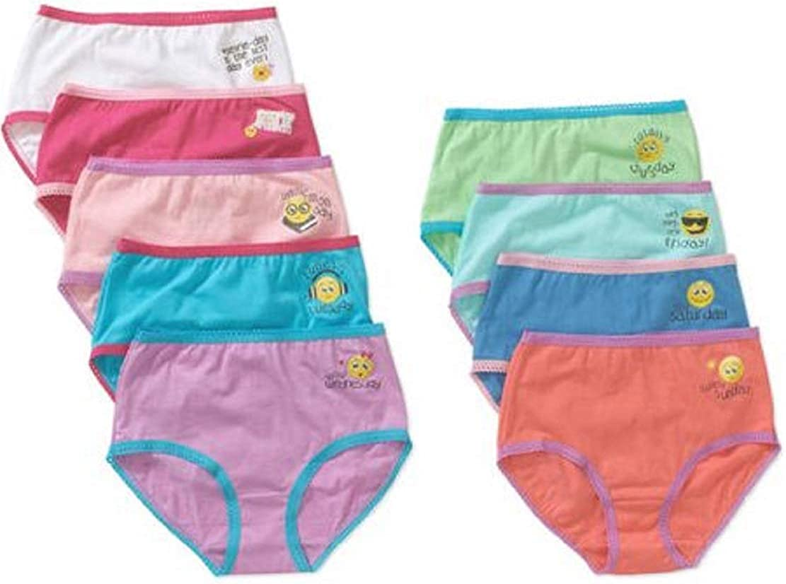 Faded Glory Girls 9-Pack Underwear Briefs Days of Week//Daily Prints