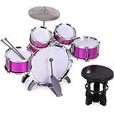 ammoon 10点セット キッズドラム ドラムセット 3色選択 楽器 玩具 1バスドラム/4ドラム/1小シンバル/2ドラムスティック/フットペダル/1スツール付き 子供 キッズ