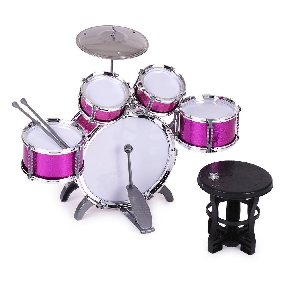 ammoon Children Kids Drum Set Musical Instrument Toy 5 Drums with Small Cymbal Stool Drum Sticks for Boys Girls