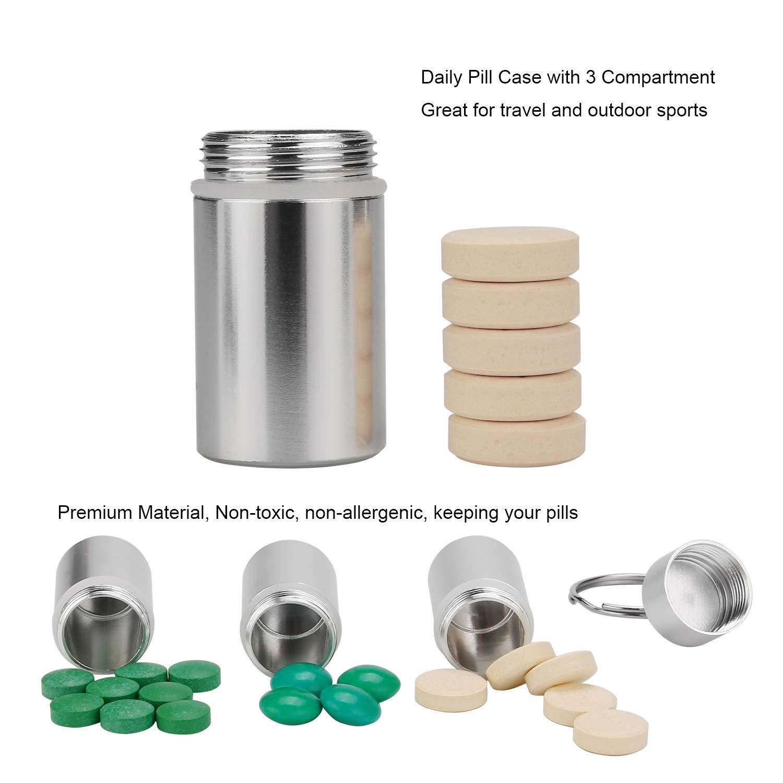 mit Kechain-Kabel 2er Set Kapsel//Pillendose wasserdicht zur Aufbewahrung von Kleinteilen Gummidichtung Aufbewahrungsbox//Pillenbox als Schl/üsselanh/änger mit Schraubverschluss