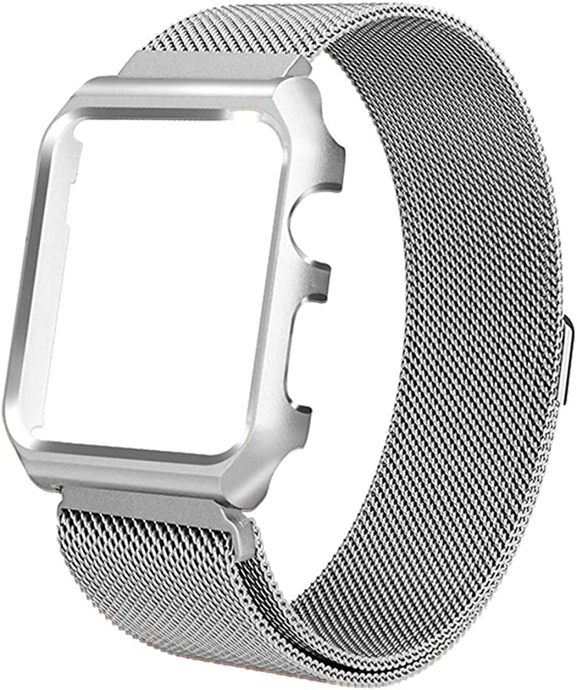 Toogu Stainless Steel Mesh bands Compatiblewith Apple Watch 38mm 40mm 42mm 44mm, Protective Case with Loop Mesh Strap Replacement Adjustable Magnetic For Iwatch Series 6/SE/5/4/3/2/1