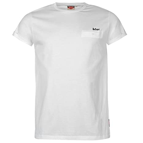 16595b5ae11a7 Amazon.com: Lee Cooper Essential Roll Sleeve T-Shirt Mens White ...