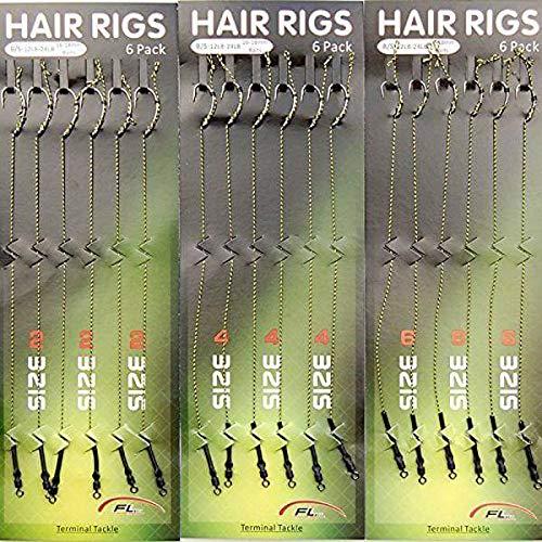 AGOOL Carp Fishing Hair Rigs - 18pcs/36pcs Braided Thread Line Curve High Carbon Steel Fishing Hook Rolling Swivel Boilies Carp Rigs Carp Fishing Accessories (Best Carp Rigs For Summer)