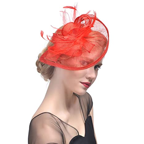 StageOnline Donne Cappelli Cerimonia Piuma Fiore Partito Matrimonio  Decorazione Cappello per Partito Matrimonio 4f4bc35fe361