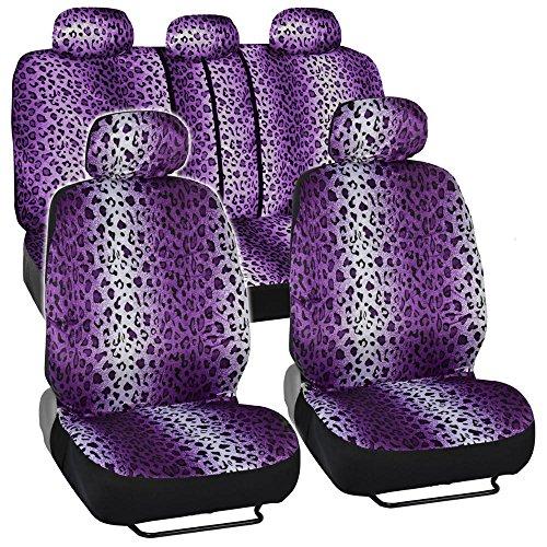 Seat Cover 11pc - Leopard Purple
