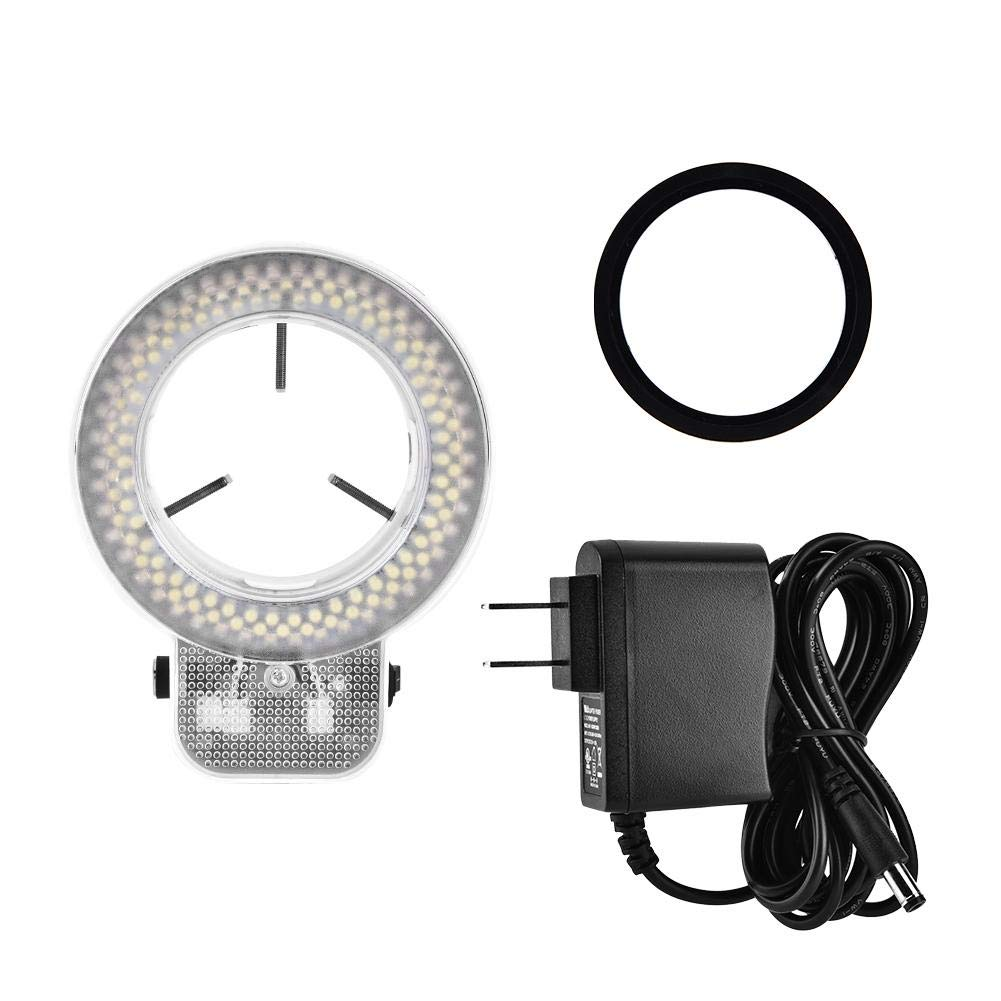 White, US Plug 110V Adjustable Microscope Light,High Brightness,for Stereo Microscope and Cameras 144 LED Ring Light