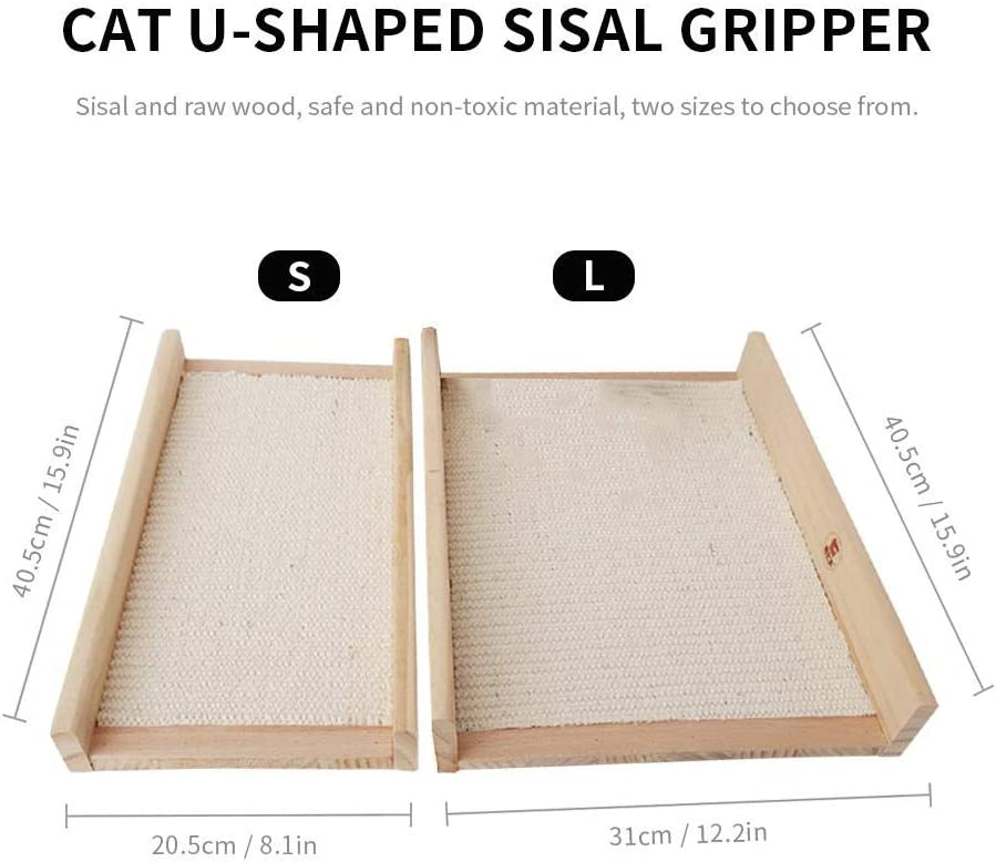 TEEPAO Sisal Cat Scratcher Bed U Shaped Cat Scratch Pad Wooden Scratching Board Sleeping Mat Biting Resistance Furniture Claw Protection