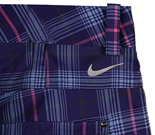 Nike Women's Dri-Fit Modern Rise Plaid Golf Shorts-Blue/Pink