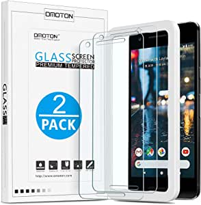 OMOTON [2 Pack] Screen Protector for [Google Pixel 2]- Tempered Glass/ Only Cover Display Area [Not for Pixel 2 XL]