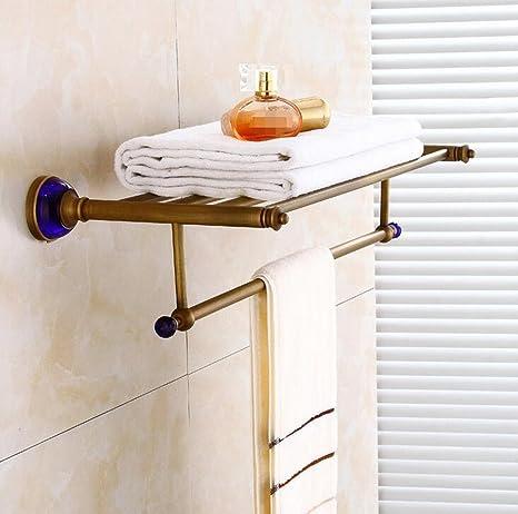 Sucastle,Cuarto de baño cuarto de baño antigüedades toalla europeo metal estantes baño colgante toalla