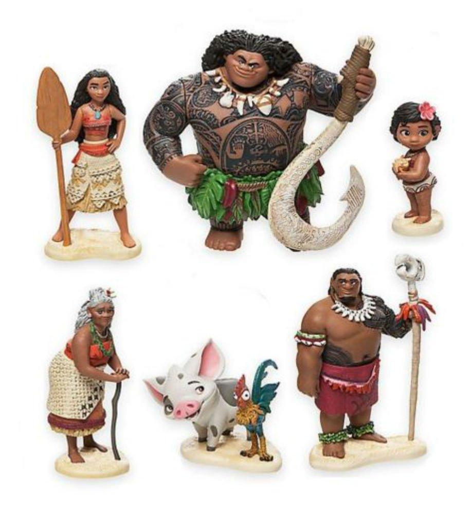 Moana Maui Hei Hei Playset 6 Figure Cake Topper Toy Doll Set Birthday Party Baby Shower