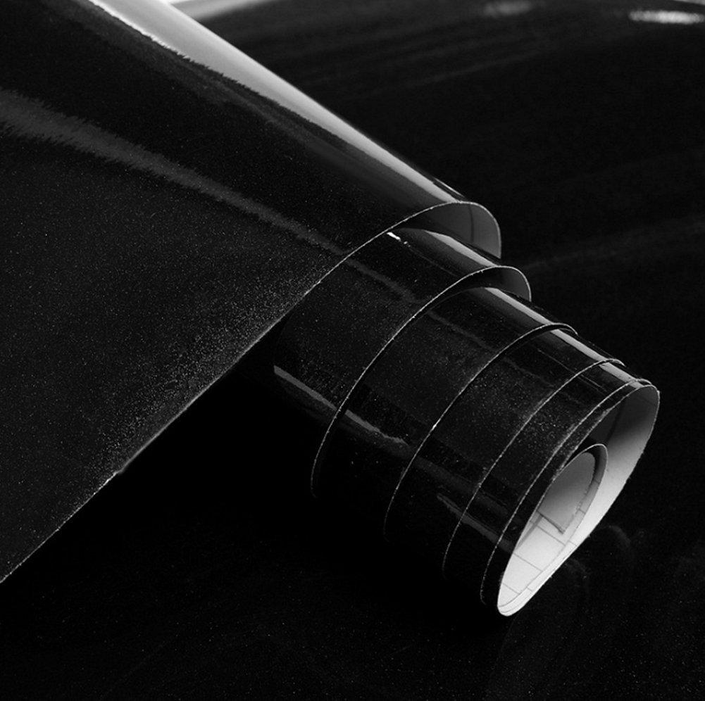 Bestevers Solid Color Pearl Film Vinyl Self Adhesive Counter Top Peel Stick Wallpaper Decal,24''x79'' (Black)