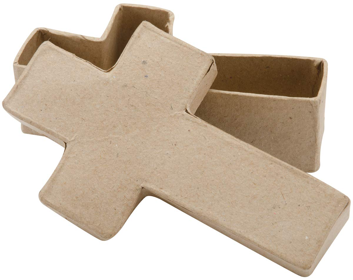 Darice Paper Mache Cross Box 5 Inches (12 Pack)