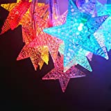 Star Battery Operated LED Christmas String Lights - RGBY, 2 Work Modes, 7.3ft