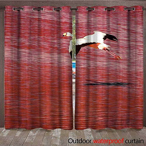 BlountDecor Outdoor Door Curtain Single Flying James s Flamingo Over The red Surface of The Lagoon Colorado in Bolivian Altiplano Also Known as The puna Flamingo Waterproof CurtainW120 x ()